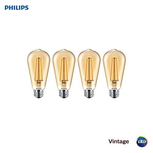 Philips LED 470401 LED Vintage Glass Dimmable ST19 Light Bulb 350-Lumen, 2200-Kelvin, 5 (40-Watt Equivalent), E26 Base, Amber, 4 Pack