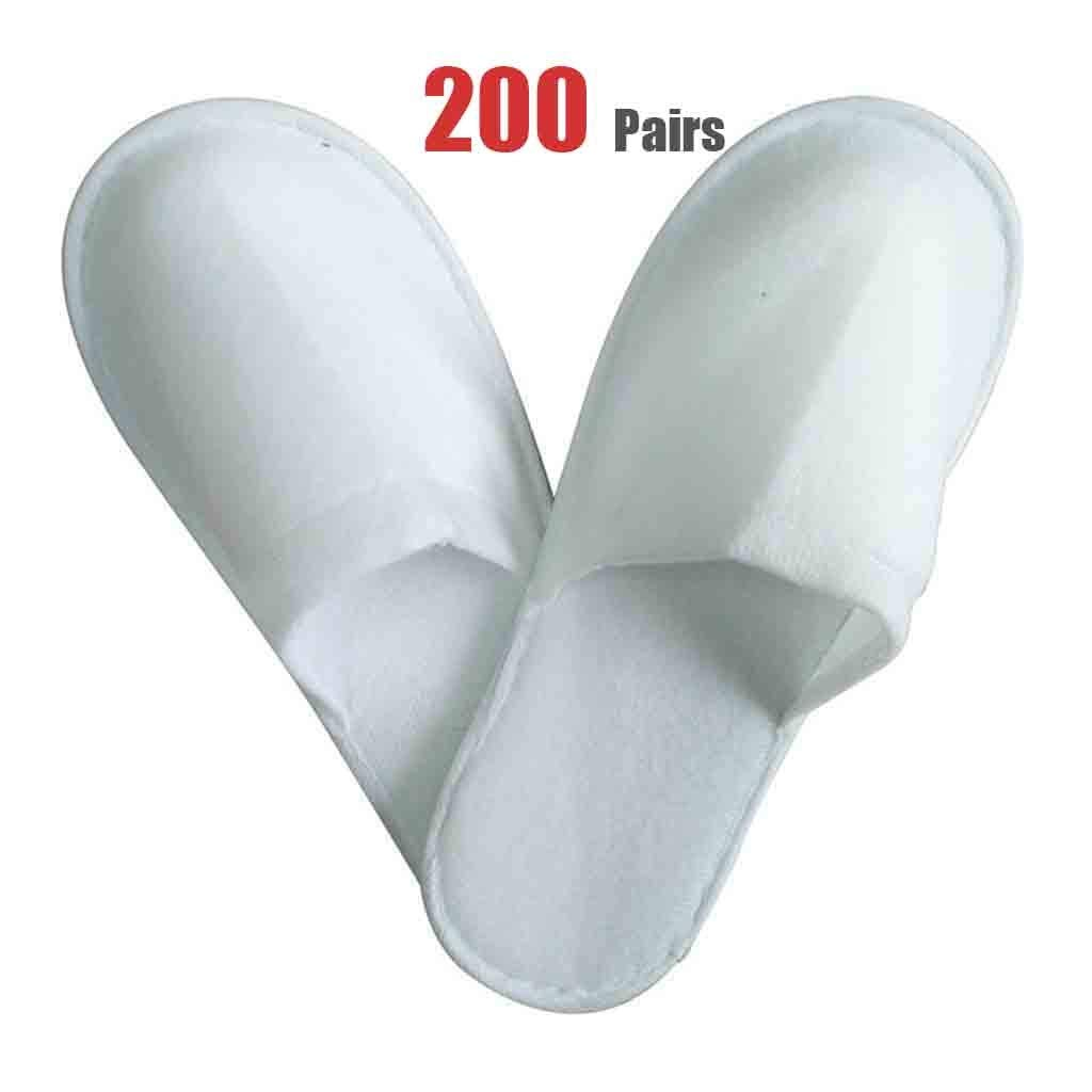 200 Pairs Slippers Women and Men Disposable Portable Spa Slippers-Hotel Pull Plush Quality Slippers Women and The Disposable Slippers Men Non-Slip Sole White Unisex Spa-