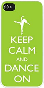 Rikki KnightTM Keep Calm and Dance On - Lime Green Color Design iPhone 5 & 5s Case Cover (White Rubber with bumper protection) for Apple iPhone 5 & 5s