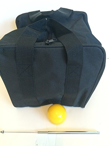 Unique Bocce Accessories Package - Extra Heavy Duty Nylon Bocce Bag (Black with Black Handles), Yellow pallina, Extendable Measuring Device by BuyBocceBalls