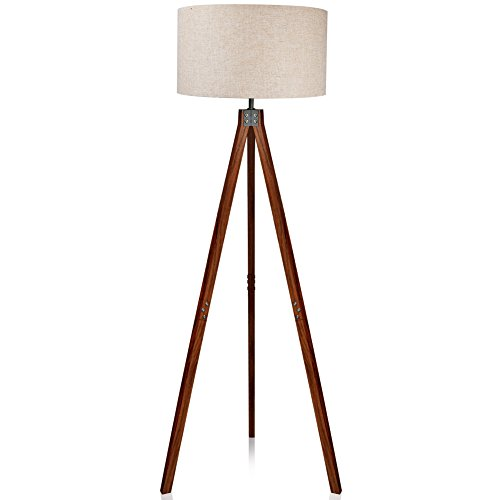 LEPOWER Wood Tripod Floor Lamp, Flaxen Lamp Shade with E26 Lamp Base, Modern Design Reading Light for Living Room, Bedroom, Study Room and Office