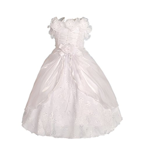 Dressy Daisy Baby Girls' Pearls Rosettes Occasion Dress Wedding Flower Girl Pageant Size 18m-24m White