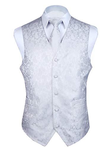 HISDERN 3pc Men's Paisley Floral Jacquard Waistcoat & Necktie and Pocket Square Vest Suit Set White ()