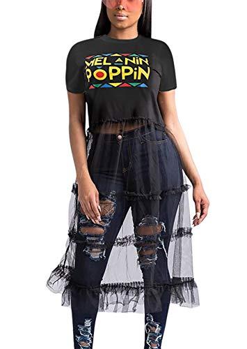 Women Fashion Shirt Dress - Short Sleeve Crop Top Patchwork Sheer Mesh Lace Skirt Club Outfit Black M