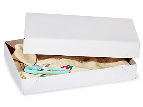 Recycled White Apparel Boxes - White Economy 11-1/2x8-1/2x1-5/8 100% Recycled ~ 2 Piece Pop Up Box (100 boxes) - WRAPS-AB2E