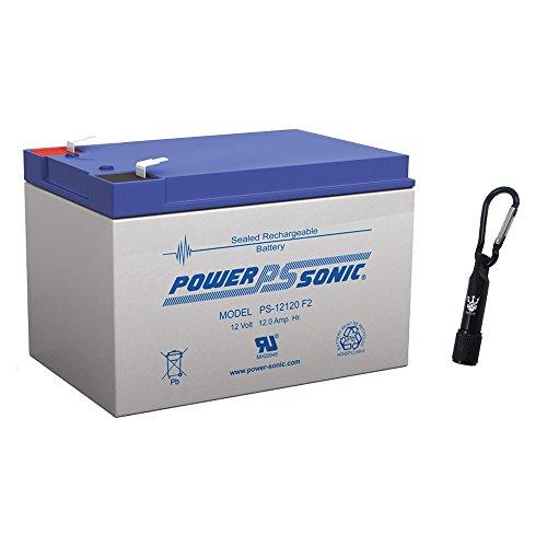 Powersonic PS-12120 12Volt 12 Amp Sealed lead acid Battery - Complimentary Neptune Keychain LED Flashlight
