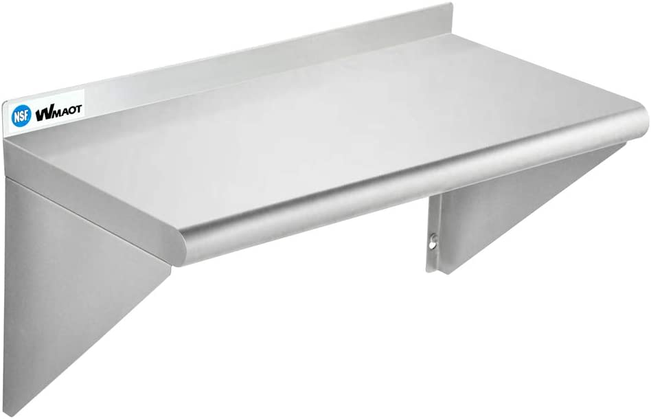 "WMAOT 12""×24"" Stainless Steel Shelf Wall Mounted NSF Certified Commercial Metal Shelving, for Appliance & Equipment Metal Shelving, Kitchen, Restaurant, Garage, Laundry, Utility Room (12x24)"