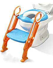 Potty Training Toilet Seat with Step Stool Ladder for Kid Children Boys and Girls Baby Toddler Toilet Training Seat Chair with Handles Padded Seat Non-Slip Wide Step (Blue Orange Upgrade)