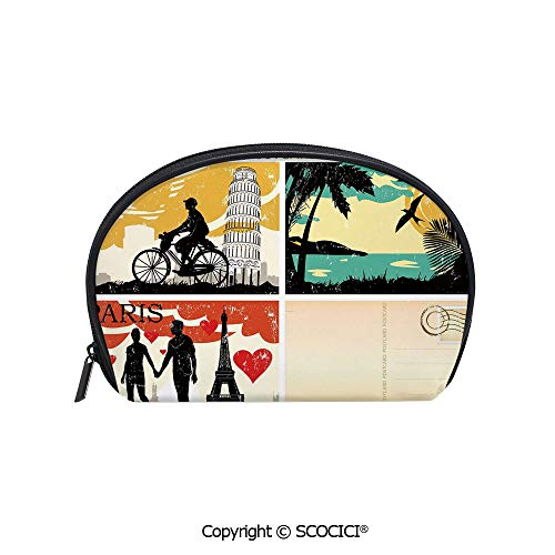 (SCOCICI Women Small Portable Cosmetic Bag Storage Bag Postcards from Italy Hawaii Paris Exotic Places in the World Nostalgic Times Print Decorative Mini Storage Bag for Daily Travel)