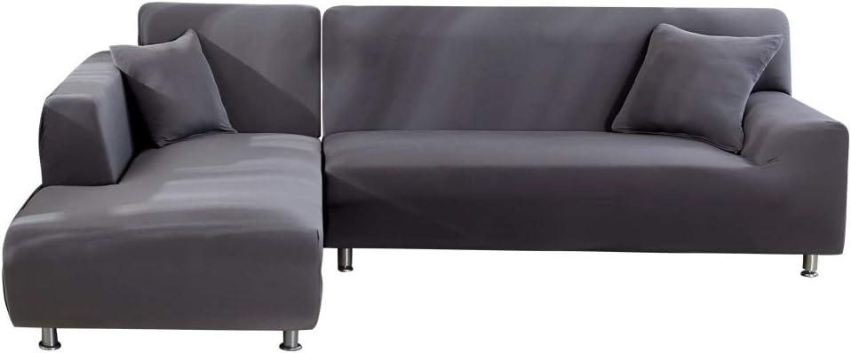 Oferta amazon: SearchI Fundas Sofa Elasticas Chaise Longue,Extraíbles y Lavables,Moderno Cubre Sofa Chaise Longue Universal Fundas Protectora para Sofa contra Polvo en Forma de L 2 Piezas(Gris,2 Plazas+3 Plazas)