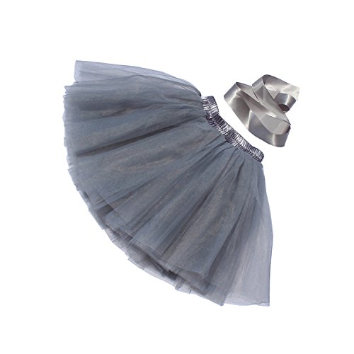 Classic 7 Layers Fluffy Baby Girls Tulle Skirt Princess Ballet Dance Tutu for Christmas Party,Grey, -