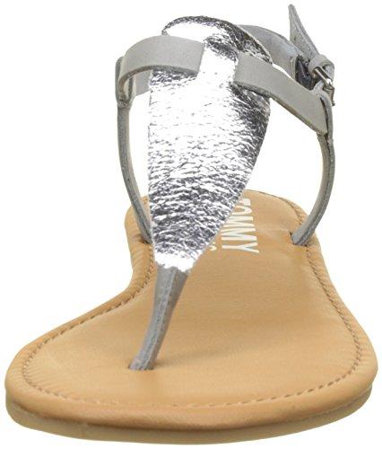 Metallic Hilfiger a Flat Denim 000 Chiusura Thong con Silver Argento Donna Sandali T FnFwUxq5p
