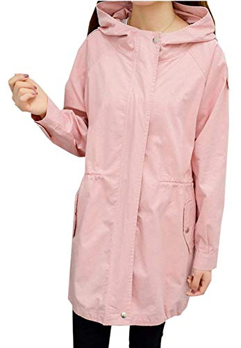 Manica Moda Abbigliamento Fit Primaverile Cappotto Giovane Giacca Outerwear Puro Grazioso Trench Slim Rosa Colore Lunga Incappucciato Windbreaker Con Autunno Donna Tasche q87aYa