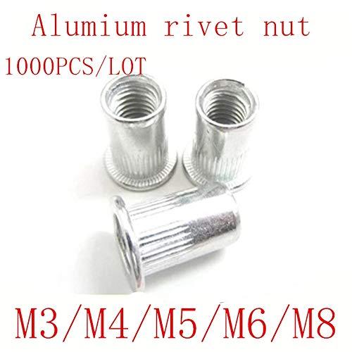 Nuts 1000pcs M3 m4 m5 m6 Flat Head Threaded Aluminum Rivet Insert Nutsert Cap Rivet Nut - (Size: M6)