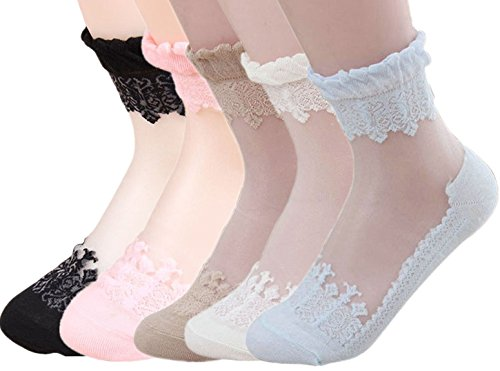 American Trends Women's Lace Transparent Elastic Ankle Silk Summer Socks (FBA) (5Pair-Mix Color)