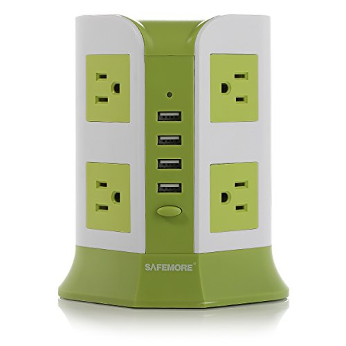SAFEMORE Power Strip 8-AC Outlets and 4-Port USB Charging Ports with 6.5-Foot Cord(Green+White)