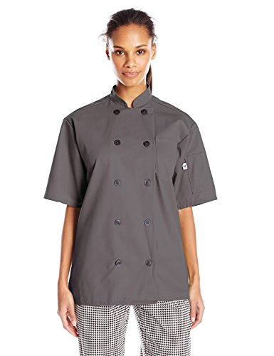 Uncommon Threads Unisex South Beach Chef Coat Short Sleeves, Slate, Medium