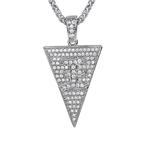 U7 Iced Out Triangle Necklace Pendant for Men with Platinum Plated Rope Chain 22