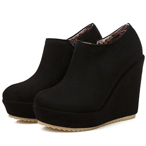 COOLCEPT Women Autumn Zipper Boots Black VYscf