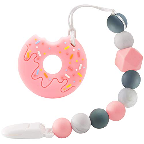 Nearbyme Baby Teething Toys, BPA Free Silicone Doughnut Design Teether with Relief Beads Binky Holder and Pacifier Clips for Toddlers & Infant (Pink)