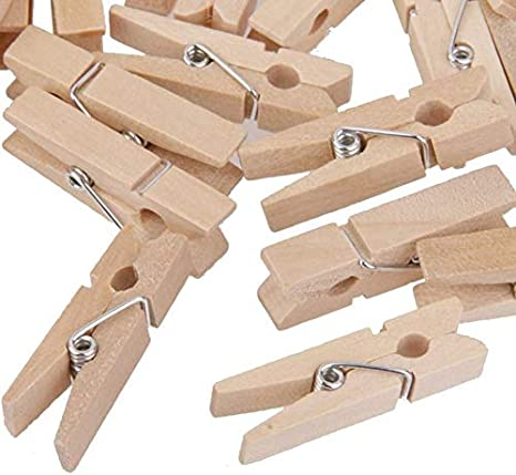 TOPBATHY 100pcs Mini Natural Wooden Clothespins Multi-Function Picture Photo Peg Pin Craft Clips for Hanging Black