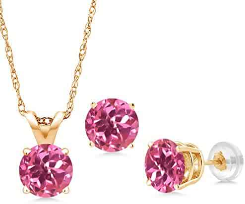 7e25ea43b4dc48 Gem Stone King 3.00 Ct Round Pink Mystic Topaz 14K Yellow Gold Pendant  Earrings Set With