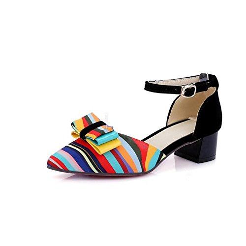 SHINIK Zapatos de mujer cuero sintético primavera verano tacón grueso bowknot conjunta dividida para vestido casual al aire libre negro rojo azul A