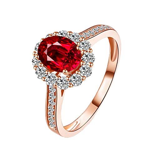 MoAndy Rose Gold 18K Female Rings Statement Ring Ruby 1.4ct & Diamond Red Size 6 ()