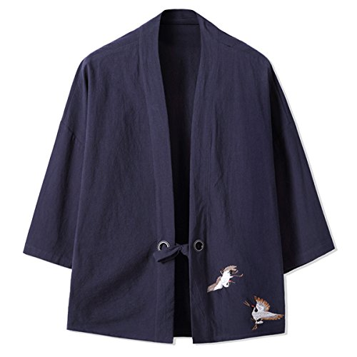 Men's Lightweight Kimono Cardigan Jackets Hip Hop Premium Cotton Blend Coat Outwear Open Front Cloak Cape