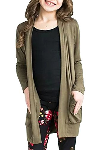 Girls Long Sleeve Cardigan Lightweight Floral Kimono Cover Ups Coat Elbow Patch Tops with Pockets 1