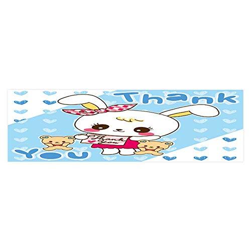 Rabbit Cartoon and Teddy Bear on Heart Background Aquarium Sticker Wallpaper Decoration L35.4 x H15.7 ()