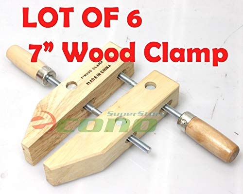 KCHEX>Lot SIX(6) 7'' wood working clamps tools wood handscrew''7''>7'' WOOD CLAMPS WOODWORKING CLAMPS Each 3-1/2'' DEEP X 3-1/4'' OPEN WIDE,& 1-3/8'' THICK by KCHEX (Image #1)