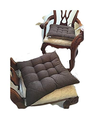 Large Size Set of 4 Brown Soft Micro Suede Fully Quilted Din