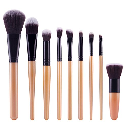 Bolayu 9Pcs Cosmetic Brush Sets Makeup Brushes Kits Tools (Black2)