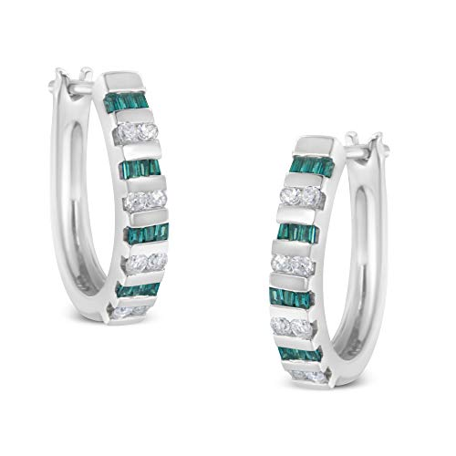 10k White Gold Round and Blue Baguette Diamond Hoop Earrings (0.50 cttw, I-J Color, I2-I3 Clarity)