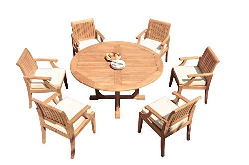 6 Seats 7 Pcs Grade-A Teak Wood Dining Set: 60