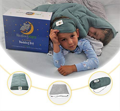 Cheap 5 lb Premium Bamboo Weighted Blanket Bedding Kit for Kids | 3-Piece Set | 36 X 48 Hypoallergenic Cooling Bamboo Heavy Blanket| Soft Minky Dot Duvet Cover | Light Blocking Sleep Eye Mask Black Friday & Cyber Monday 2019