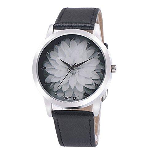 Womens Clothing : Watches Black - Han Shi Watch, Fashion Fashion Flower Leather Analog Quartz Luxury Vogue Wrist Watch Bracelet (M, Black)