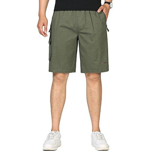 BATUOS Mens Rugged Twill Cargo Shorts Flat Front Utility Work Shorts Military Pants with Full Elastic Waist