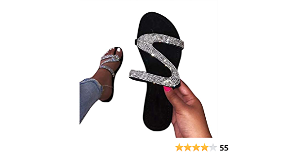 HIRIRI Womens Slippers Glitter Crystal Sandals Roman Style Flat Slip On Shoes Party Casual Ladies Flip Flop