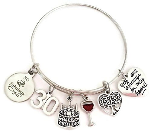 Kit's Kiss 30th Birthday bracelet, Birthday gift for Women, 30 and Fabulous bracelet, Birthday charm, Tree of Life charm, Birthday bangle bracelet, Birthday bangle jewelry (30th Birthday)