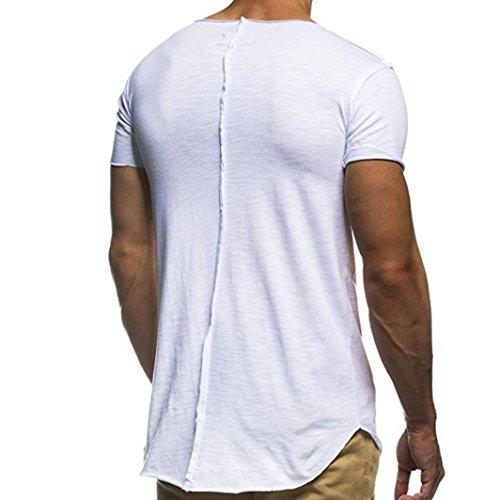Zarupeng Camicia Bianca Moda Corta Di Manica Personalità Maschile Casual Slim UrwqUH