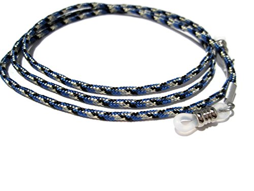 ATLanyards Blue with Black and Gray Eyeglass Cord - Paracord Eyeglass Holder