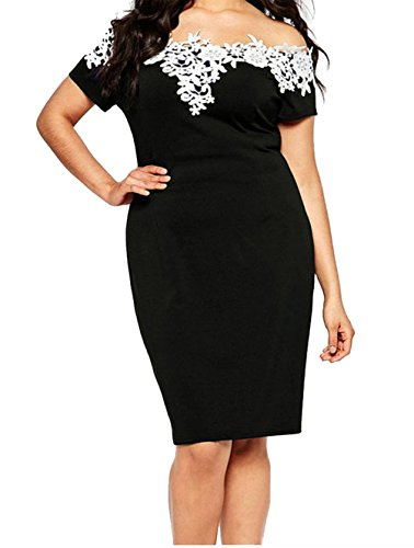 FQHOME-Womens-Lace-Crochet-Off-Shoulder-Plus-Size-Pencil-Dress