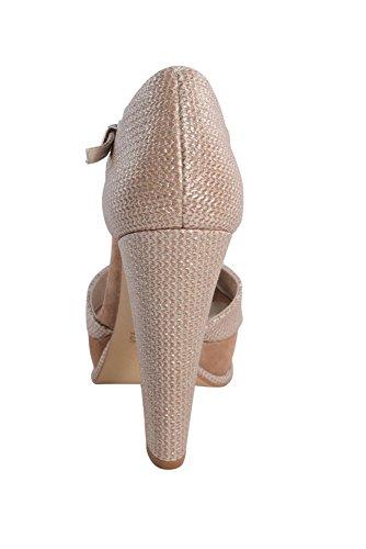 Petal Braided Platform Heels Intropia Peep Toe Metallic Hoss Womens FRxgw8nA
