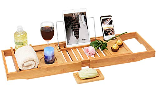 Domax Bathtub Caddy Tray with Wine Glass Holder Adjustable Book Stand Extendable Non Slip Sides Bamboo Bath Organizer Best Gift for Women's Day