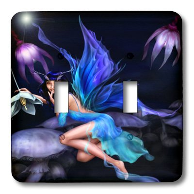 - 3dRose LLC lsp_101704_2 Beautiful Fairy with Blue N Purple Wings Double Toggle Switch