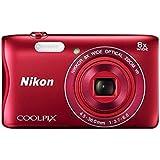 """Nikon Coolpix S3700 Appareil Photo Numérique Compact 20,1 Mpix Écran Lcd 2,7"""" Zoom Optique 8X +  Bonnet avec Casque + Housse en Néoprène - Rouge"""
