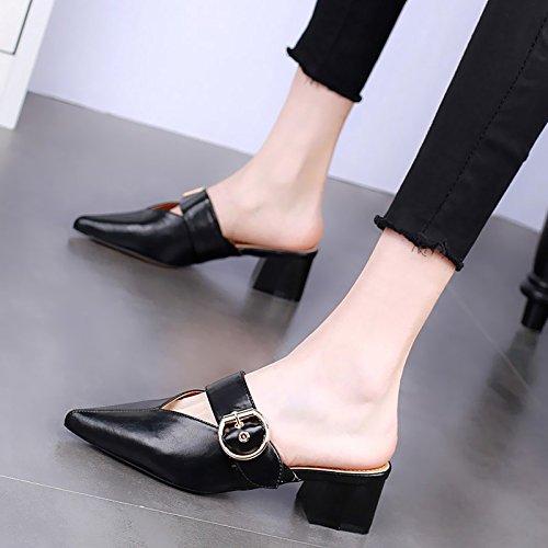 KPHY-Verano 5 Cm Zapatos De Tacon Alto Moda Rough Heels Zapatillas Sexy Baotou Desgaste Salvaje Medio Y Hembra Arrastrando. black