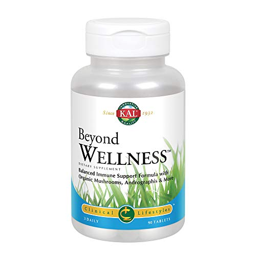 KAL Beyond Wellness | Balanced Immune Support with Vitamin C, Zinc, Echinacea, Organic Mushrooms, Andrographis & More | Lab Verified | 90 Tablets